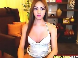 Hot Asian Amateur Shemale Jerking Her Cock